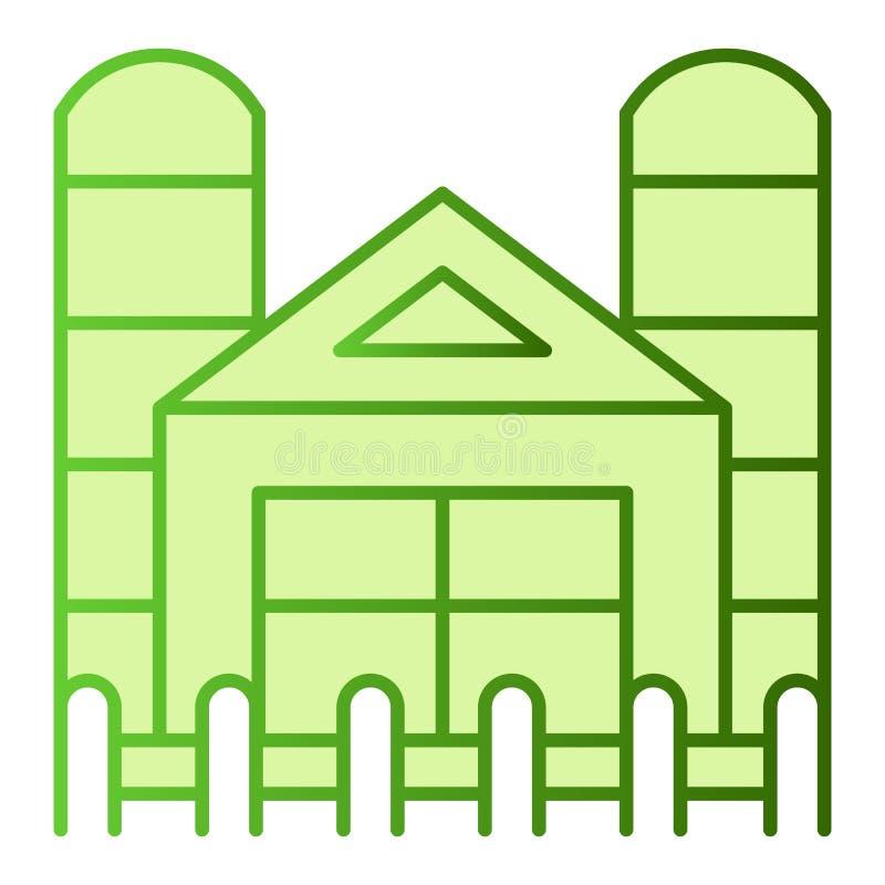 Fabrieks vlak pictogram Landbouwbedrijf groene pictogrammen in in vlakke stijl De stijlontwerp van de landbouwgradiënt, voor Web  vector illustratie