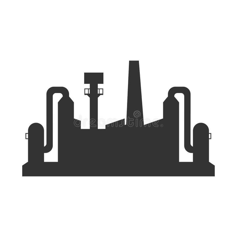 Fabrieks zwart pictogram royalty-vrije illustratie