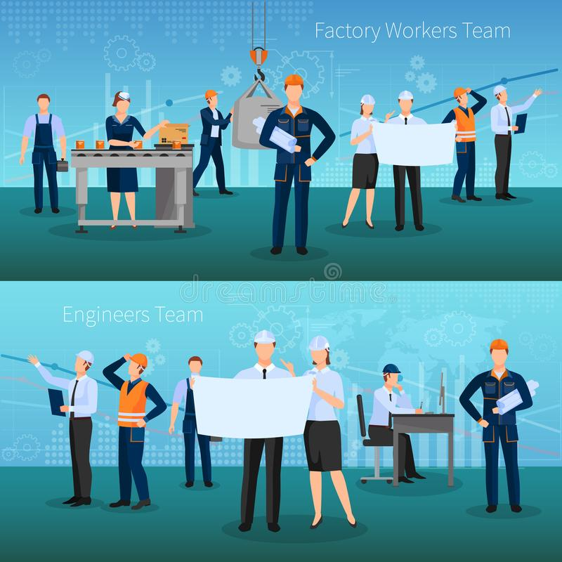 Fabrieksarbeiders Team Banners Set vector illustratie