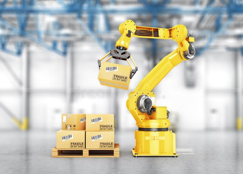 Fabrieksmanipulator De automatische hand houdt de kartondoos boven transportband vector illustratie