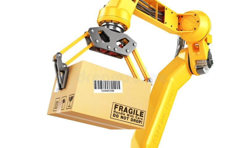 Fabrieksmanipulator De automatische hand houdt de kartondoos boven transportband royalty-vrije illustratie