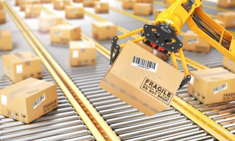 Fabrieksmanipulator De automatische hand houdt de kartondoos boven transportband 3D Illustratie stock illustratie