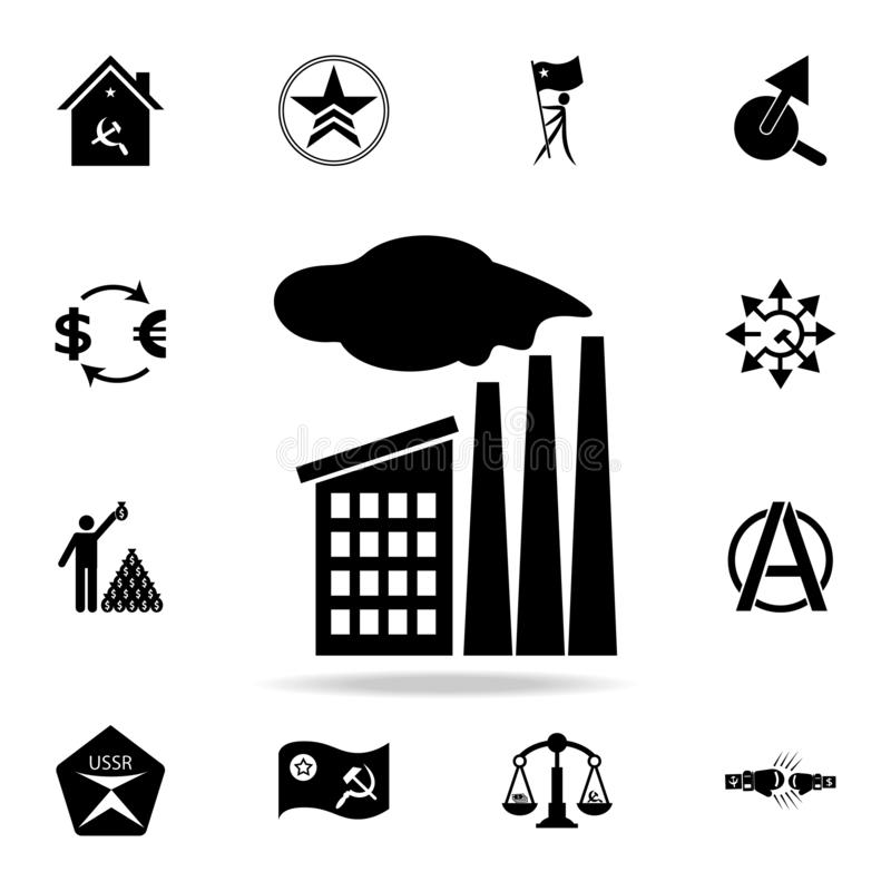 Fabriekspictogram Gedetailleerde reeks communisme en collectivismepictogrammen Premie grafisch ontwerp Één van de inzamelingspict royalty-vrije illustratie