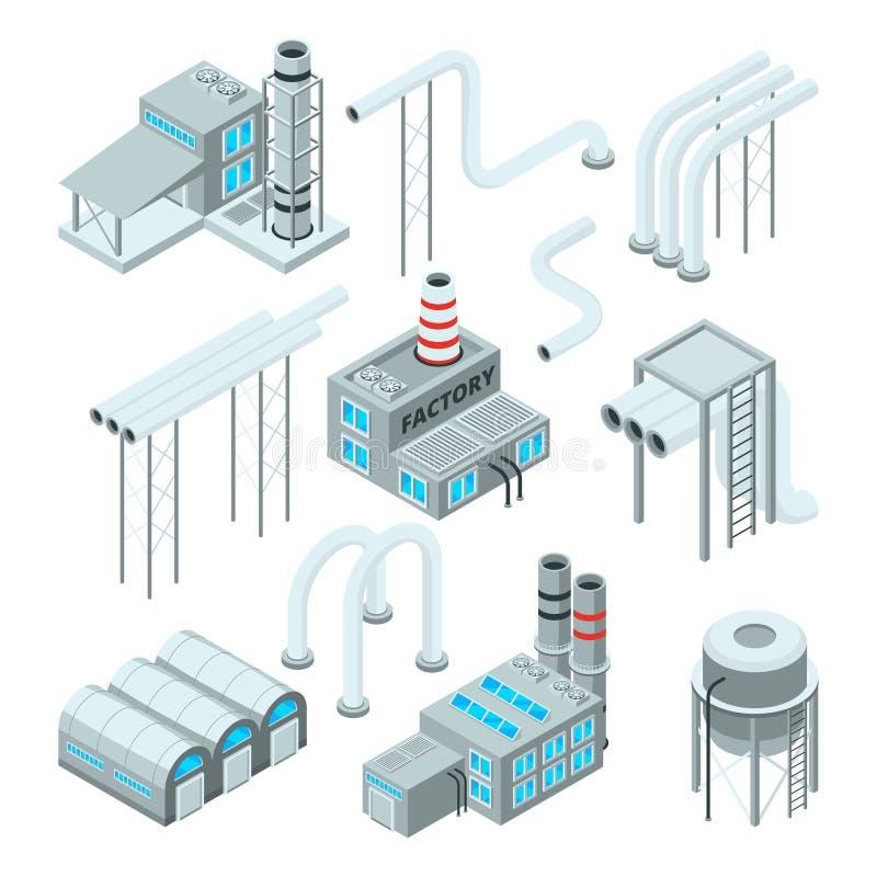 Fabriekspijp en reeks industriële gebouwen Isometrische stijlbeelden royalty-vrije illustratie