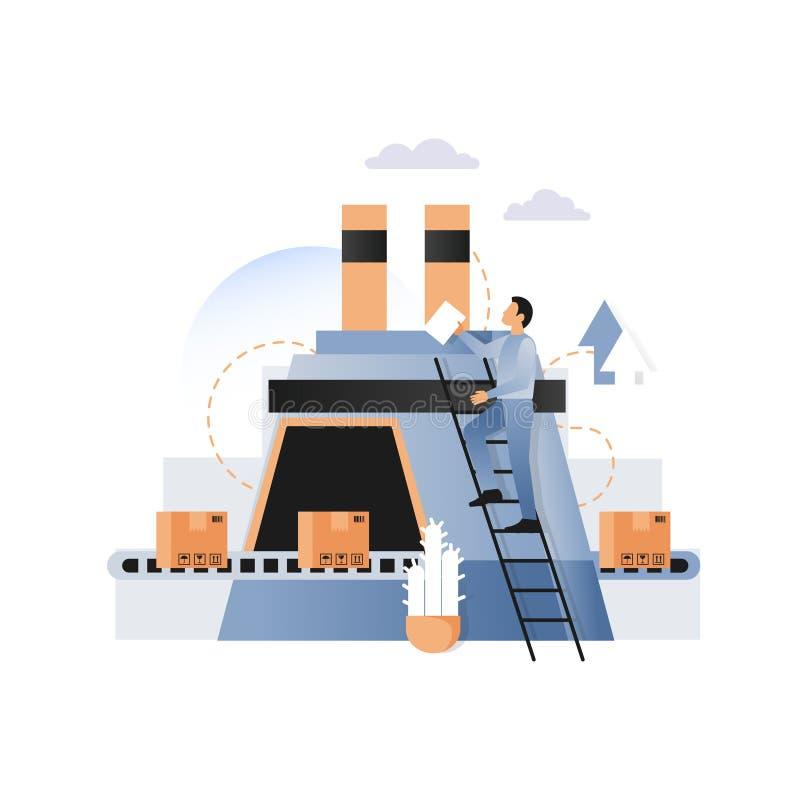 Fabriekstransportband met de vectorillustratie van kartondozen vector illustratie