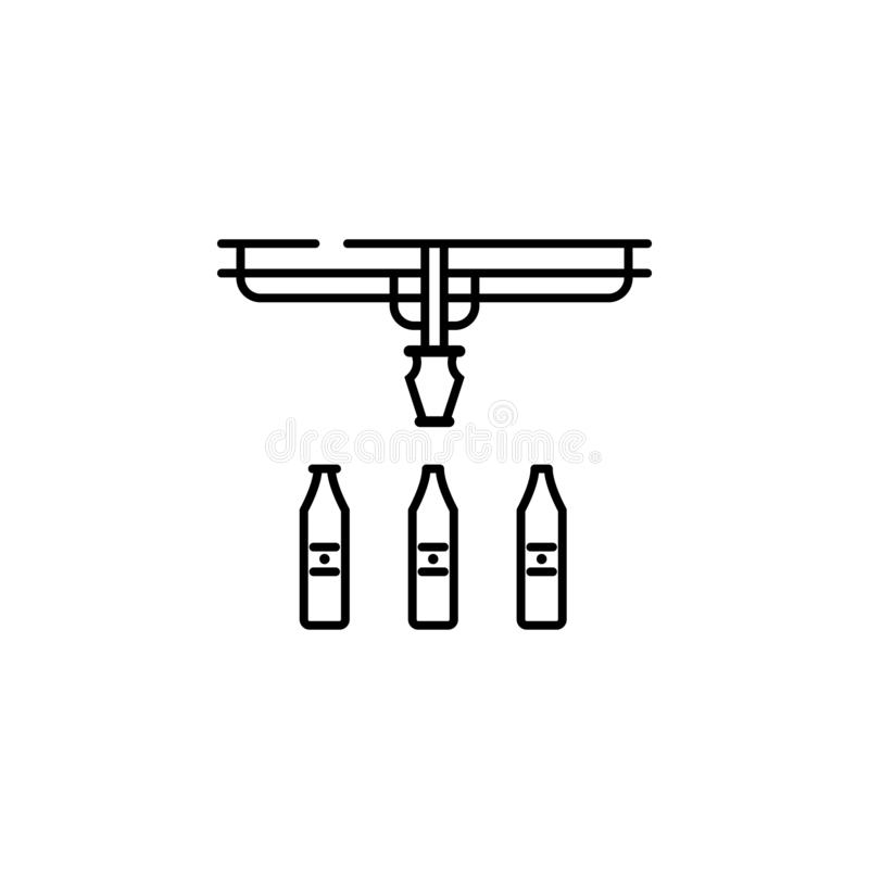 fabrik drink, produktionsymbol Beståndsdel av produktionsymbolen för mobila begrepps- och rengöringsdukapps Tunn linje fabrik, dr stock illustrationer