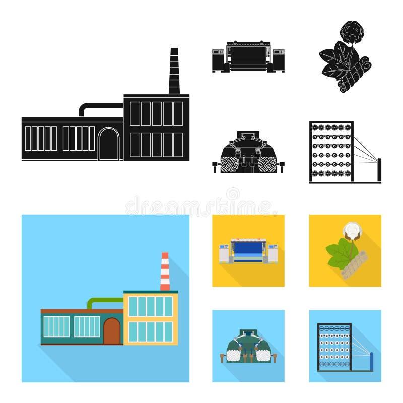 Fabrik, företag, byggnader och annan rengöringsduksymbol i svart, lägenhetstil Textil bransch, tygsymboler i uppsättning stock illustrationer