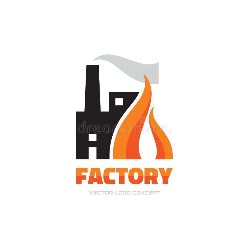 Fabrik - illustration för begrepp för vektorlogomall för affärsföretag Industrianläggningtecken campa brandflammaskog vektor för  royaltyfri illustrationer