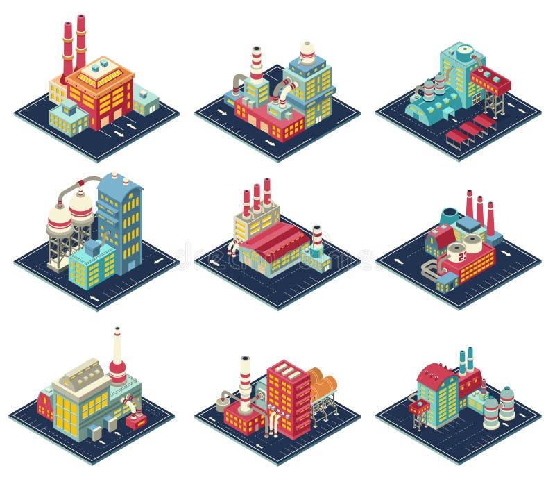 Fabrik-isometrische Zusammensetzungen eingestellt lizenzfreie abbildung