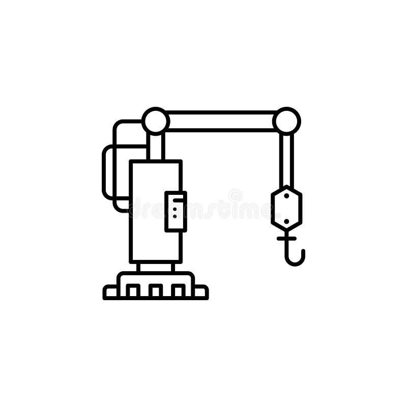 fabrik kransymbol Beståndsdel av produktionsymbolen för mobila begrepps- och rengöringsdukapps Den tunna linjen fabriken, kransym royaltyfri illustrationer
