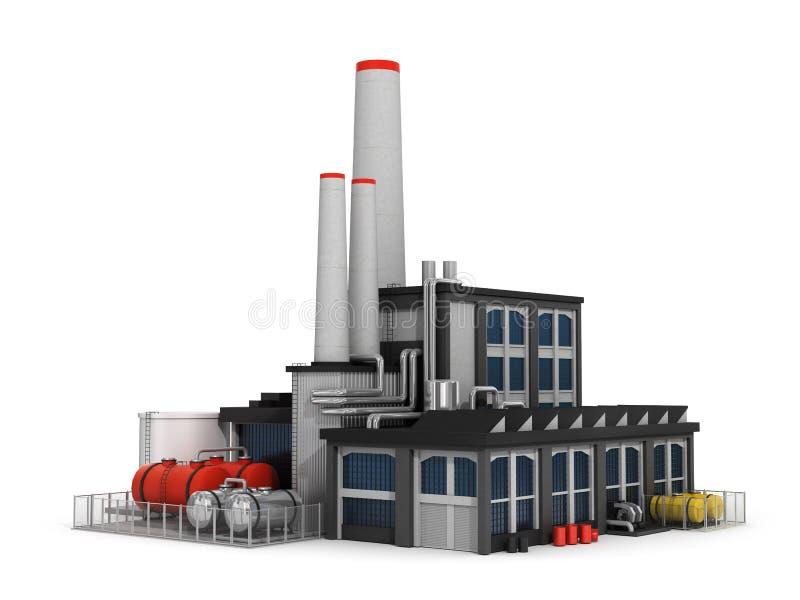 Fabrik på vit bakgrund stock illustrationer