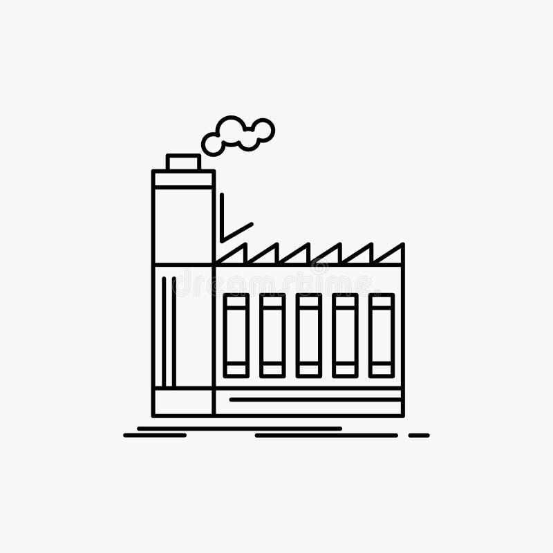 Fabrik som är industriell, bransch, tillverkning, produktionslinjesymbol Vektor isolerad illustration royaltyfri illustrationer