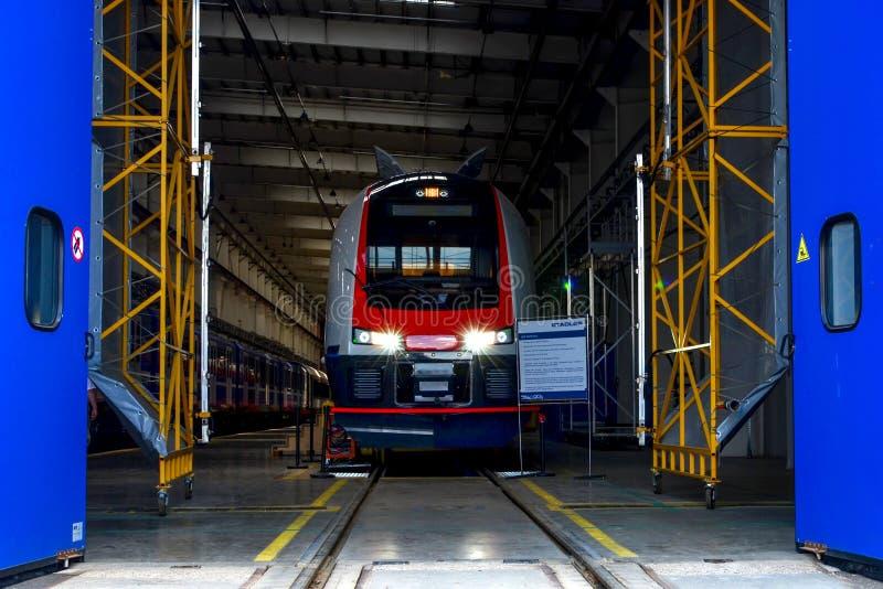 Fabrik 'Stadler Minsk 'för stångbil, arkivbild