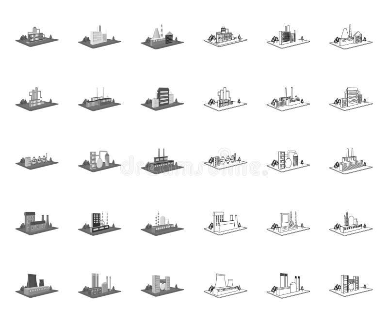 Fabrik und Anlage mono, Entwurfsikonen in gesetzter Sammlung für Entwurf r stock abbildung
