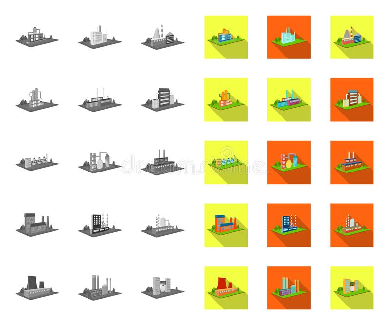 Fabrik und Anlage mono, flache Ikonen in gesetzter Sammlung für Entwurf Isometrischer Symbolvorrat des Produktions- und Unternehm vektor abbildung