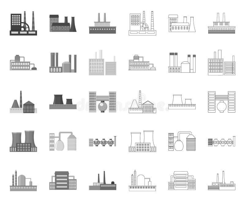 Fabrik und Anlagen mono, Entwurfsikonen in gesetzter Sammlung für Entwurf Fabrik- und Ausr?stungsvektorsymbol-Vorratnetz vektor abbildung