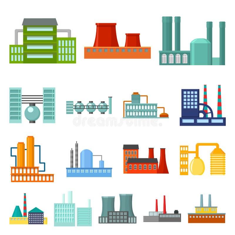 Fabrik- und Anlagenkarikaturikonen in der Satzsammlung für Design Fabrik- und Ausrüstungsvektorsymbol-Vorratnetz lizenzfreie abbildung