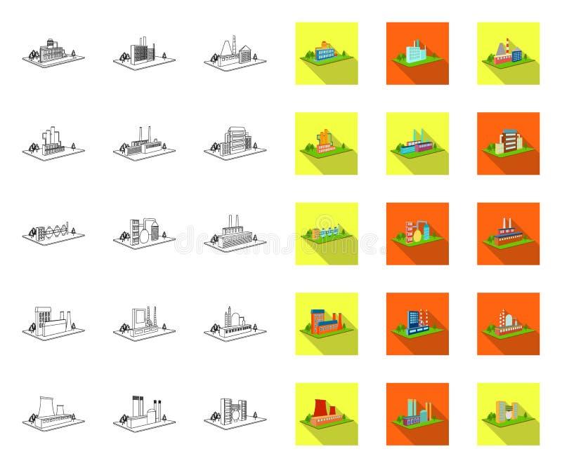 Fabrik- und Betriebsentwurf, flache Ikonen in gesetzter Sammlung für Entwurf r vektor abbildung