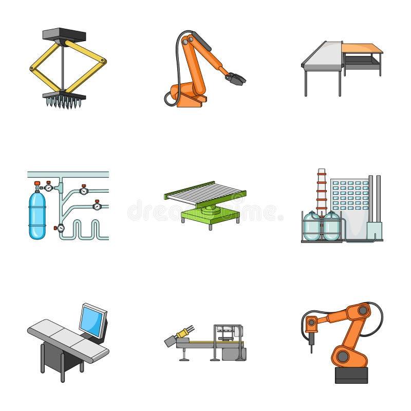 Fabrikausrüstung und Maschinen und andere Netzikone in der Karikaturart Neue Fertigungstechnikikonen in der Satzsammlung lizenzfreie abbildung