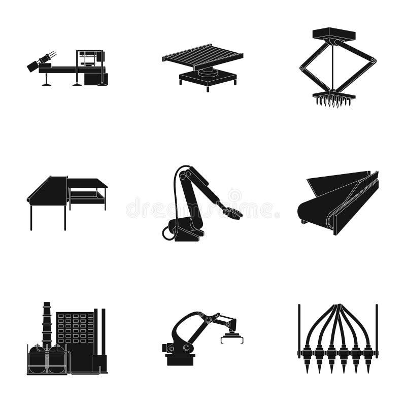 Fabrikausrüstung und Maschinen und andere Netzikone in der schwarzen Art Neue Fertigungstechnikikonen in der Satzsammlung stock abbildung