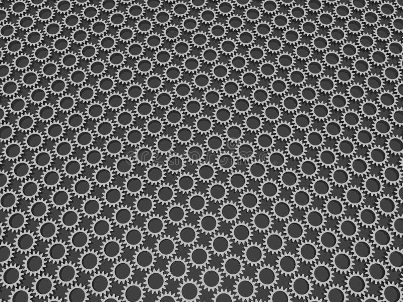 Fabriken för stål för bakgrund för kugghjulmodellabstrakt begrepp 3d framför arkivfoto