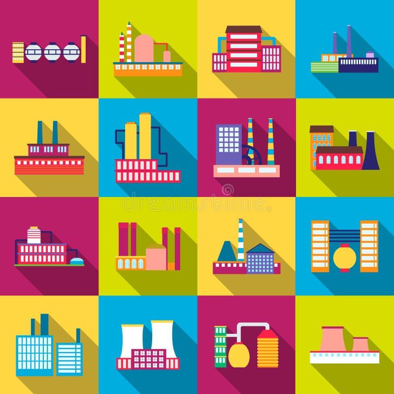 Fabrikenergiestromindustrie-Manufakturgebäude stellten von den Vektorikonen in der Ebene ein stock abbildung