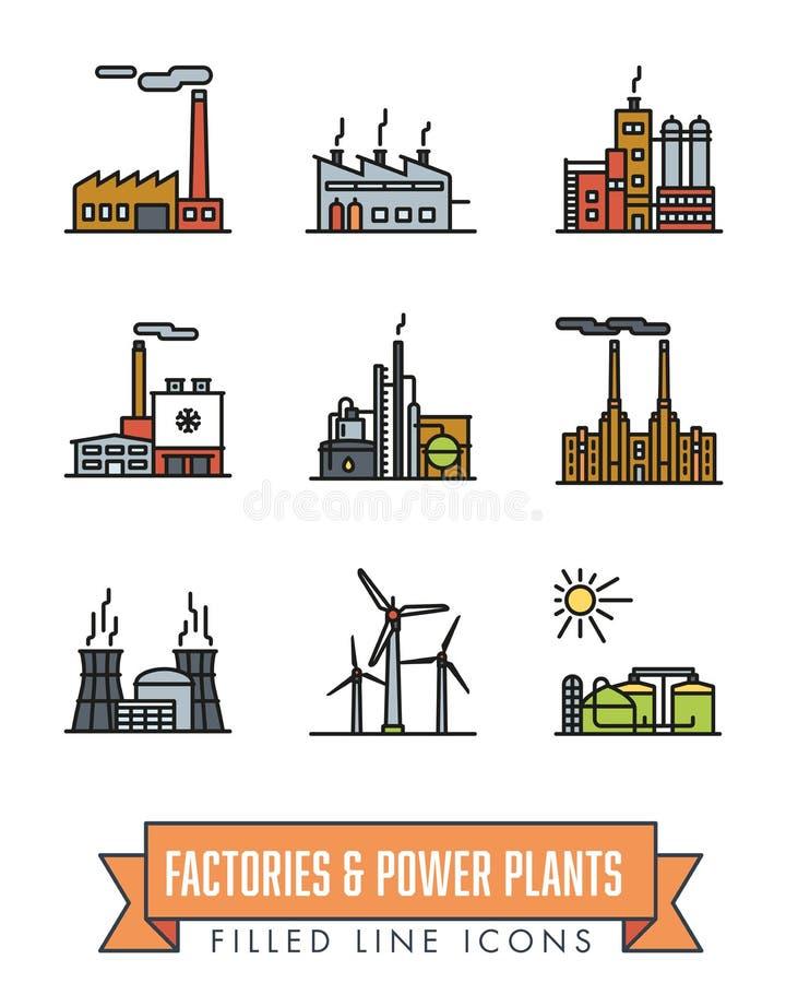 Fabriker och den kraftverk fyllda linjen symbolsvektor ställde in stock illustrationer