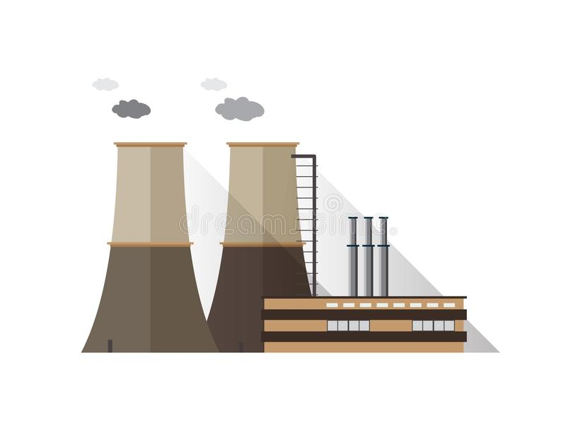 Fabrikgebäude mit den Rohren und Kühltürmen, die den Dampf lokalisiert auf weißem Hintergrund ausstrahlen Kraftwerk oder Station  lizenzfreie abbildung