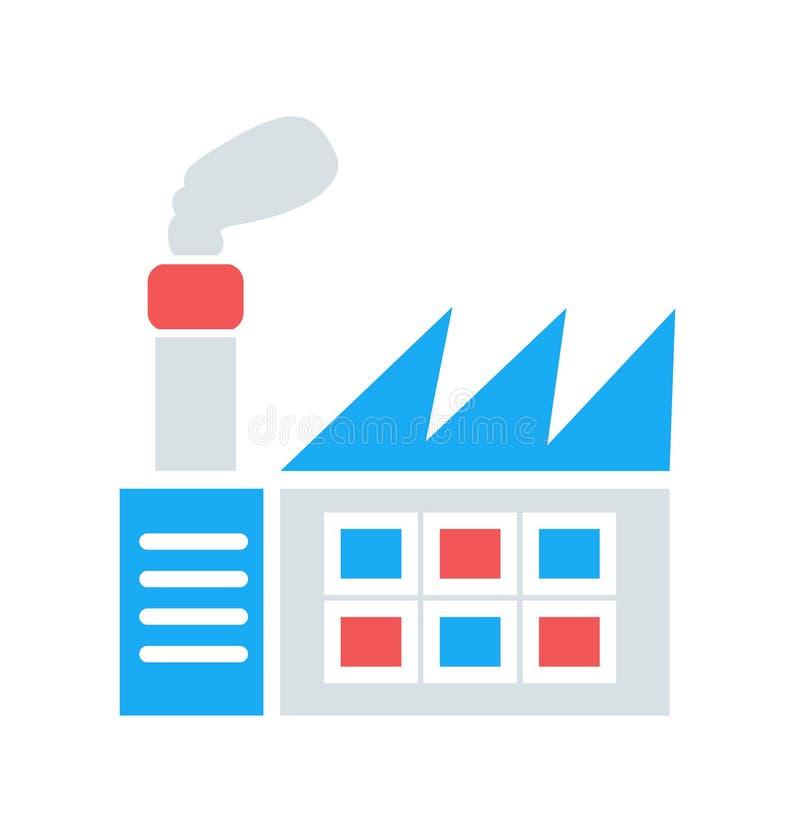 Fabrikikone einfaches sauberes Fabrikzeichensymbol - Vektorillustration lizenzfreie abbildung