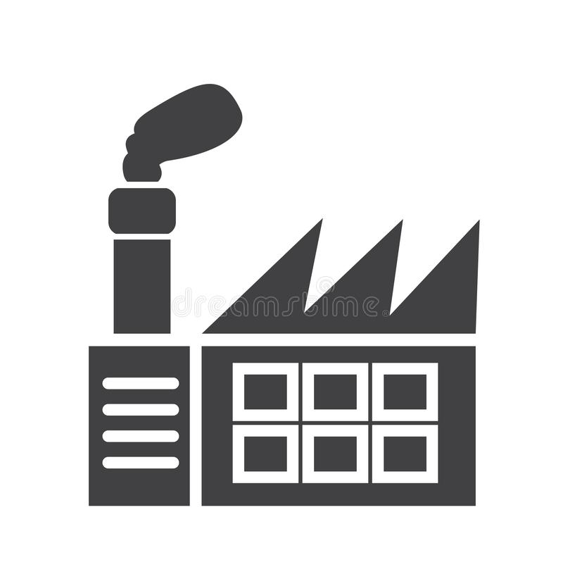 Fabrikikone einfaches sauberes Fabrikzeichensymbol - Vektorillustration stock abbildung