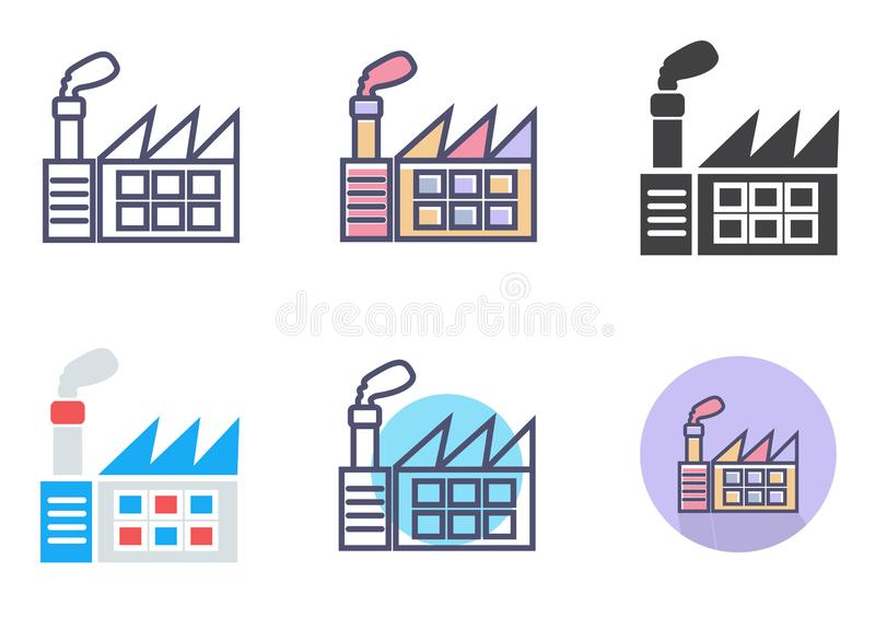 Fabrikikonensatz einfaches sauberes Fabrikzeichensymbol - Vektorillustration stock abbildung