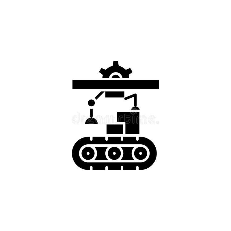 Fabriks- begrepp för etappsvartsymbol Fabriks- symbol för etapplägenhetvektor, tecken, illustration stock illustrationer