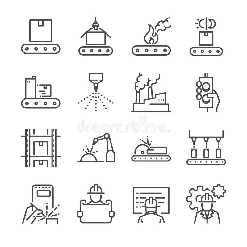 Fabriks- linje symbolsuppsättning Inklusive symbolerna som process, produktion, fabrik, emballage och mer royaltyfri illustrationer