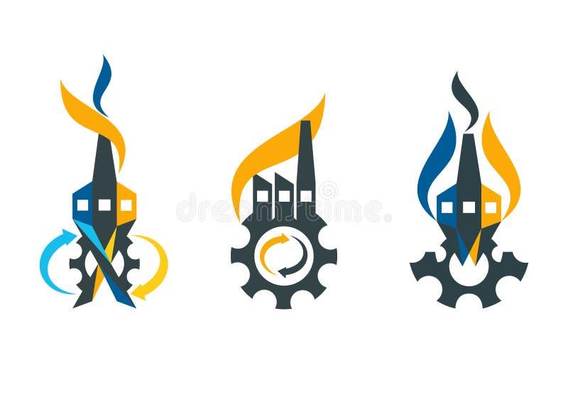 Fabriks- logo, design för fabrikssymbolbegrepp stock illustrationer