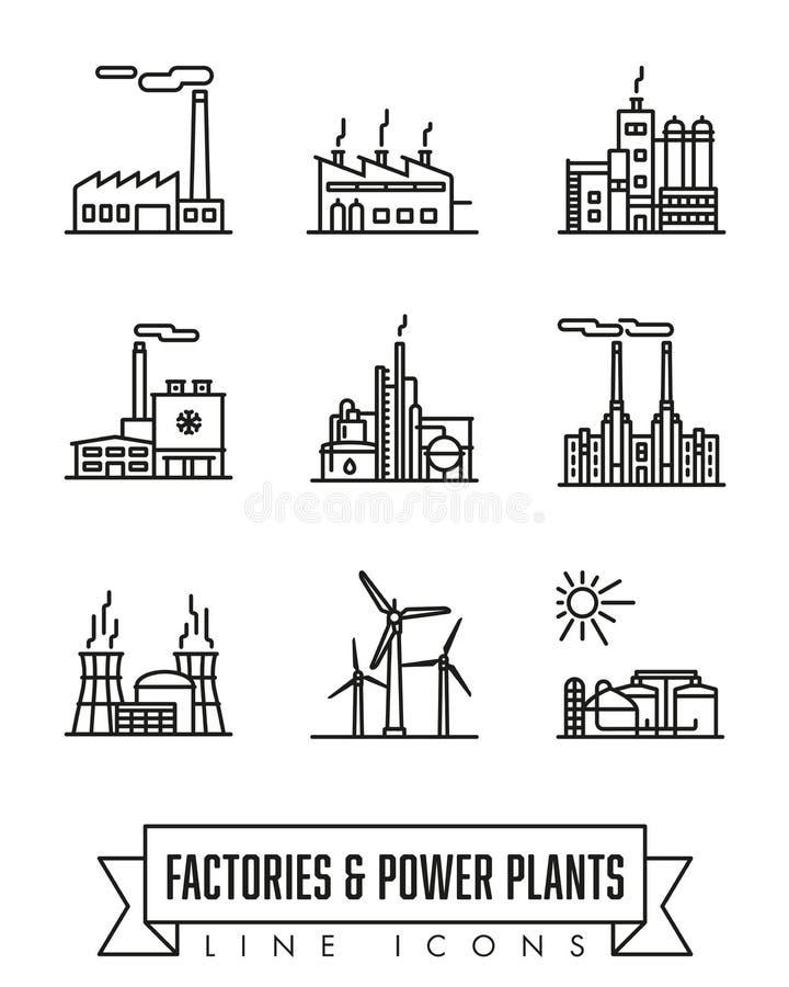 Fabriks- och kraftverklinje symbolsvektoruppsättning vektor illustrationer