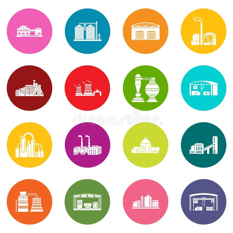 Fabriks- och produktionbyggnader royaltyfri illustrationer