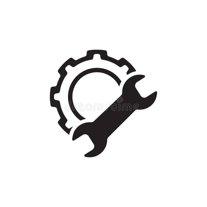 Fabriks- symbol Kugghjul och skiftnyckel utför service symbolet vektor illustrationer