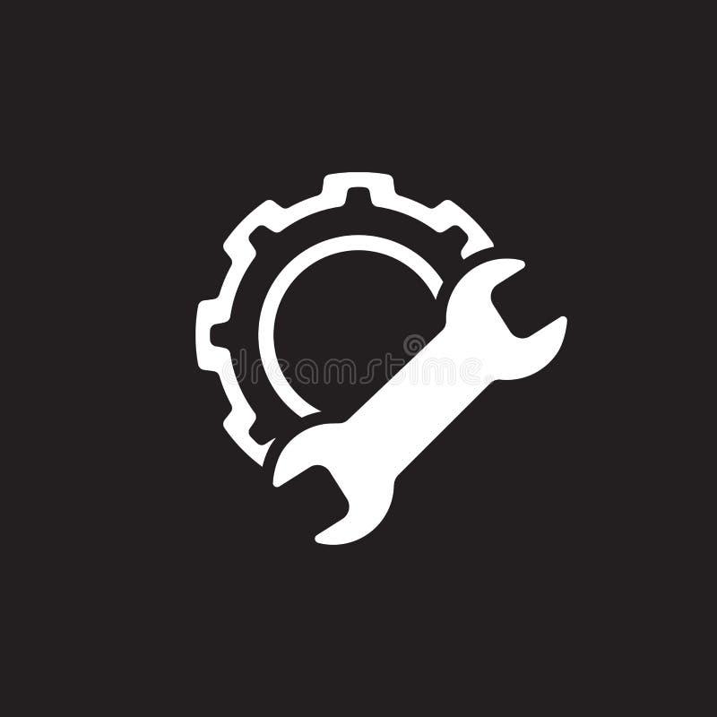 Fabriks- symbol Kugghjul och skiftnyckel utför service symbolet stock illustrationer