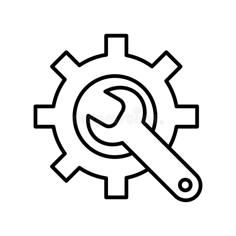 Fabriks- symbol Kugghjul och skiftnyckel utför service symbolet Plan linje Pictogram bakgrund isolerad white royaltyfri illustrationer