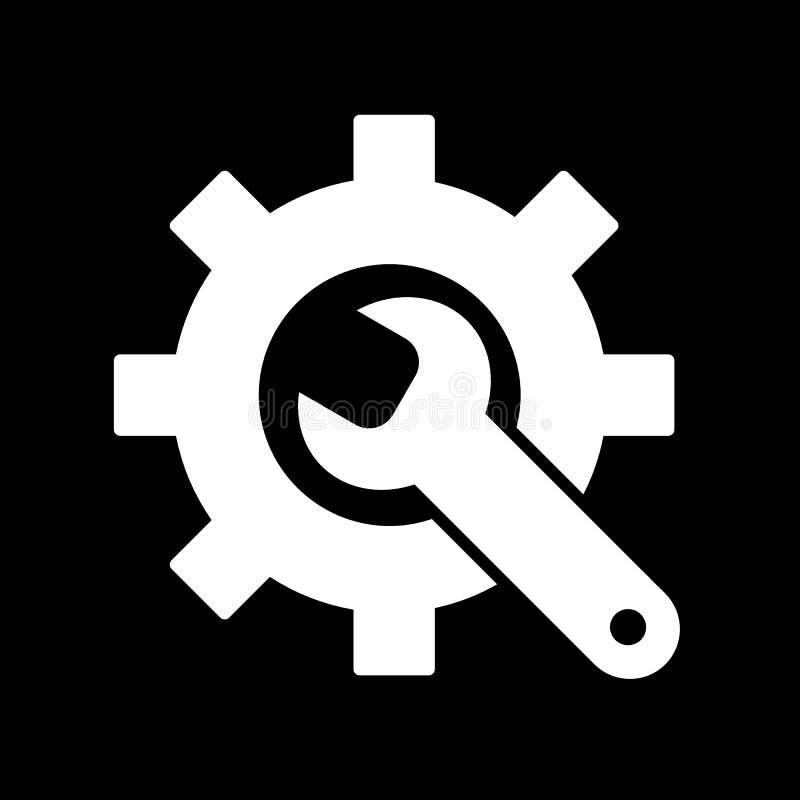 Fabriks- symbol Kugghjul och skiftnyckel utför service symbolet Plan linje Pictogram Isolerat på svart bakgrund royaltyfri illustrationer