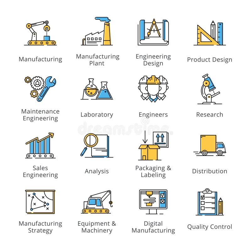Fabriks- tekniksymboler - översiktsserie royaltyfri illustrationer