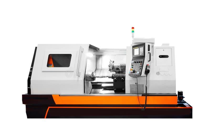 Fabriks- yrkesmässig drejbänkmaskin industriellt begrepp Programmerbar modern digital drejbänk som isoleras på vit backgroun royaltyfri bild