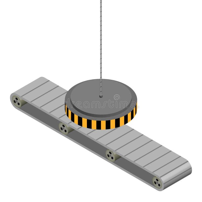 Fabriksbiltransport med elektromagneten royaltyfri illustrationer