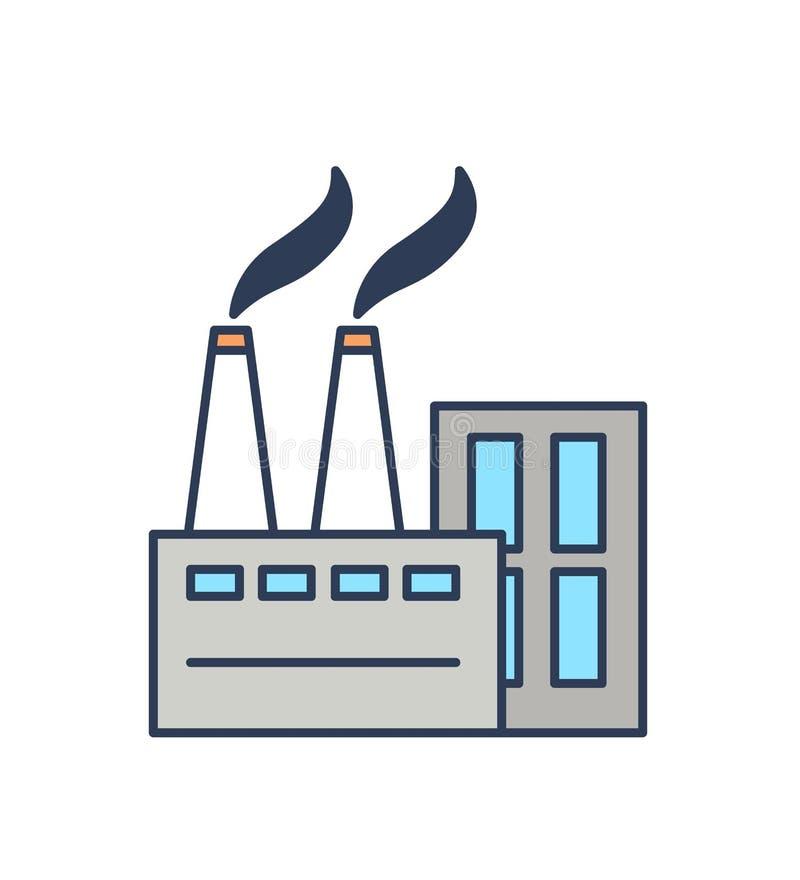 Fabriksbyggnad av modern stads- arkitektur som isoleras på vit bakgrund Symbol eller symbol av produktionsanläggningen eller vektor illustrationer