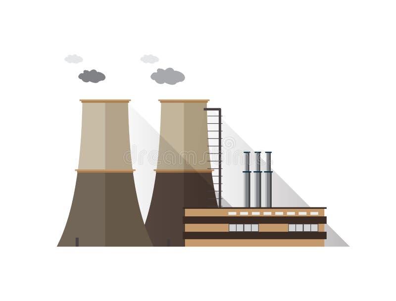 Fabriksbyggnad med rör och att kyla står högt sända ut dunsten som isoleras på vit bakgrund Kraftverk eller station av royaltyfri illustrationer
