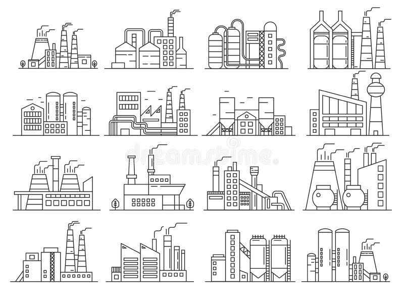 Fabriksbyggnadslinje stiluppsättning Indistrial konstruktion och slaglängden för reklamfilmarkitekturöversikt ställde in royaltyfri illustrationer
