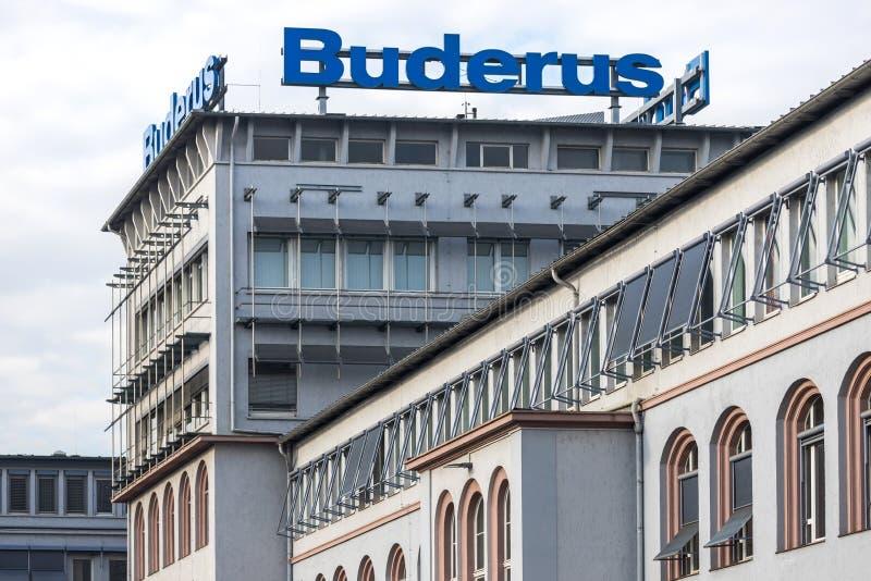 Fabrikschild von Buderus in Wetzlar lizenzfreies stockfoto