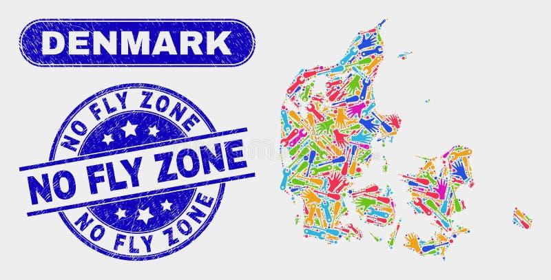 FabriksDanmark översikt och Grunge inga Fly Zone stämpelskyddsremsor royaltyfri illustrationer