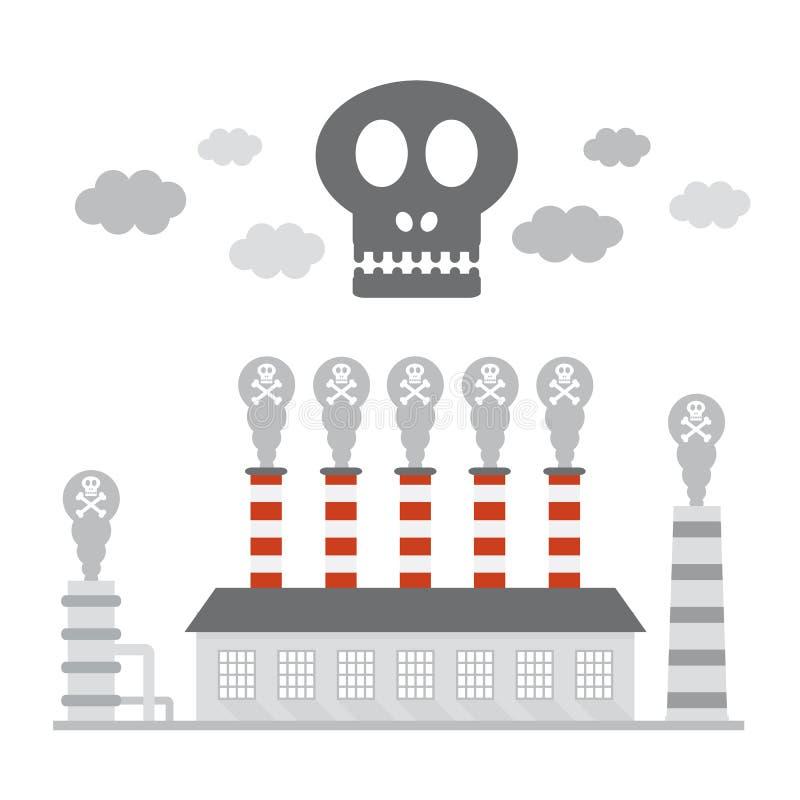 Fabriksföroreningsymbol royaltyfri illustrationer