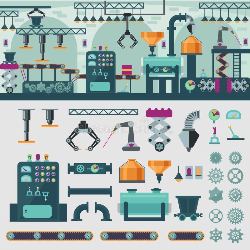 Fabriksinrebegrepp royaltyfri illustrationer